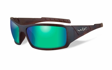 Wiley X Polarized Emerald Mirror (Amber)/Matte Hickory Brown