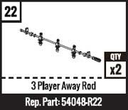 #22 - 3 Player Away Rod - Red