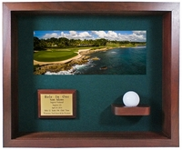 Hole-In-One Ball & Photo Shadow Box Display - Cherry
