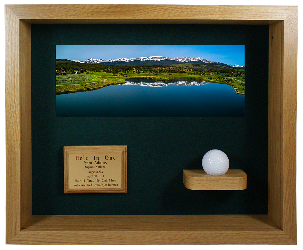 Hole In One Ball Photo Shadow Box Display Oak Only 13999