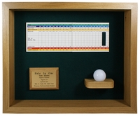 Hole-In-One Ball & Scorecard Shadow Box Display - Oak