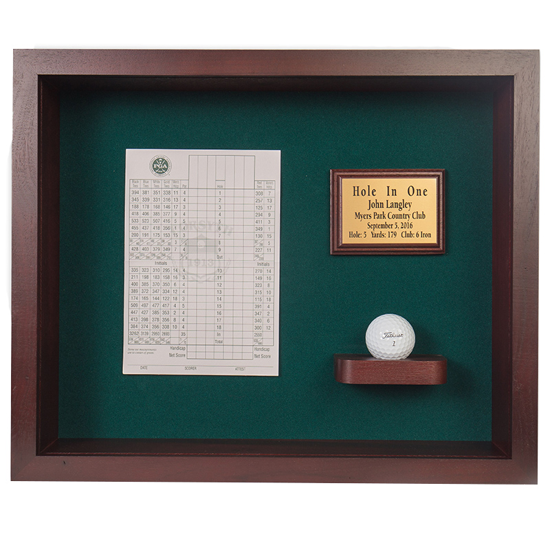Hole In One Ball Vertical Scorecard Shadow Box Display Cherry