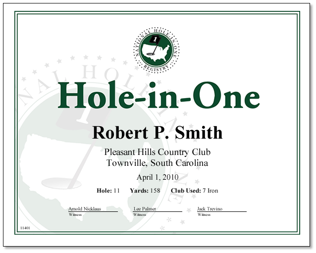 Hole-in-One Certificate - You Print only $9.99