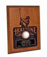 Sandblasted Hole-In-One Plaque - Cherry