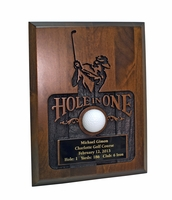 Sandblasted Hole-In-One Plaque - Walnut
