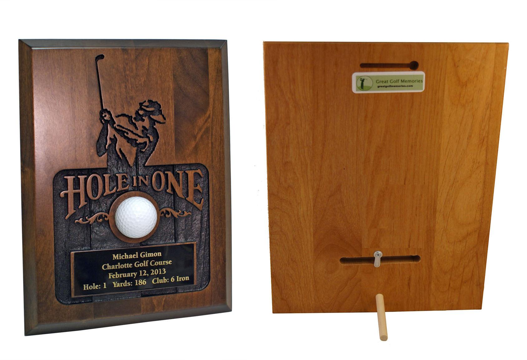 sandblasted hole in one plaque walnut only. Black Bedroom Furniture Sets. Home Design Ideas