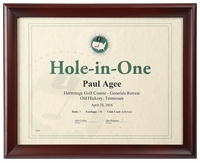 Walnut Hole-In-One Certificate Frame