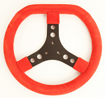 KG Suede Flat Top Steering Wheel, Solid Color with Black Center