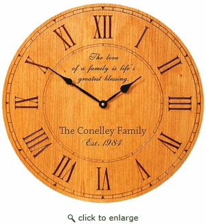 12 INCH ROUND PERSONALIZED CLOCK : WOOD