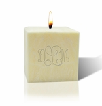"3"" AROMATHERAPY PALM WAX CANDLE : MONOGRAM"