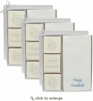 3 ECO LUXURY COURTESY GIFT SETS : BLUE OR SILVER DREIDEL MIX