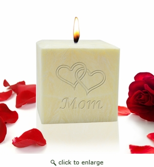 "3"" PALM WAX CANDLE : HEARTS FOR MOM"