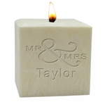 "3"" PALM WAX CANDLE : MR & MRS"