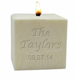 "3"" PALM WAX CANDLE : NAME & DATE"