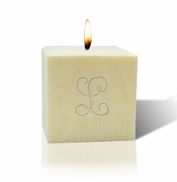 "3"" UNSCENTED PALM WAX CANDLE : INITIAL"