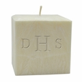 "3"" UNSCENTED PALM WAX CANDLE : MONOGRAM"