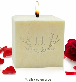 "4"" Aromatherapy Palm Candle - Antler with Single Initial"