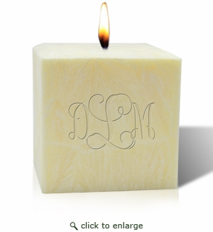 "4"" AROMATHERAPY PALM WAX CANDLE : MONOGRAM"