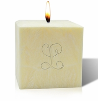 "4"" CITRUS ESCAPE PALM WAX CANDLE : INITIAL"
