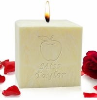 "4"" PALM WAX CANDLE : APPLE FOR TEACHER"