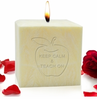 "4"" PALM WAX CANDLE : KEEP CALM AND TEACH ON"