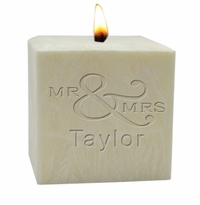 "4"" PALM WAX CANDLE : MR & MRS"