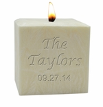 "4"" PALM WAX CANDLE : NAME & DATE"