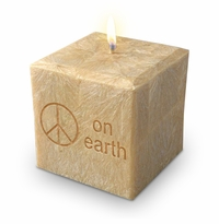 "4"" PALM WAX CANDLE : PEACE ON EARTH"