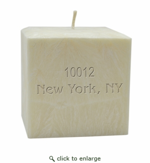"4""  PALM WAX CANDLE : PERSONALIZED ZIP CODE"
