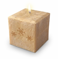 "4"" PALM WAX CANDLE : SNOWFLAKES"