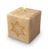 "4"" PALM WAX CANDLE : STAR OF DAVID"