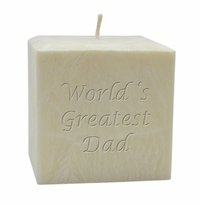 """4"""" PALM WAX CANDLE : WORLD'S GREATEST DAD"""