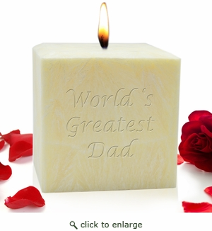 "4"" PALM WAX CANDLE : WORLD'S GREATEST DAD"