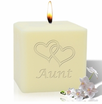 "4"" SOY BLEND CANDLE : HEARTS FOR AUNT"