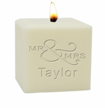 "4"" SOY BLEND CANDLE : MR & MRS"
