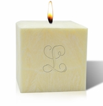 "4"" UNSCENTED PALM WAX CANDLE : INITIAL"