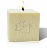 "4"" UNSCENTED PALM WAX CANDLE : MONOGRAM"