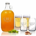 5 Piece Set: Growler  64 oz.  & Beer Can Glasses 16 oz (Set of 4) Personalized Antler Theme