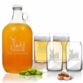 5 Piece Set: Growler  64 oz.  & Beer Can Glasses 16 oz (Set of 4) Personalized Hillside Buck