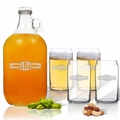 5 Piece Set: Growler  64 oz.  & Beer Can Glasses 16 oz (Set of 4) Personalized Sport Food Drinks