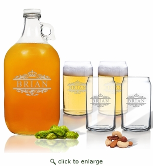 5 Piece Set: Growler  64 oz.  & Beer Can Glasses 16 oz (Set of 4) Scotts Design