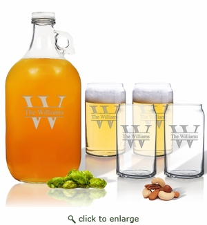 5 Piece Set: Growler  64 oz.  & Beer Can Glasses 16 oz (Set of 4) Split Letter