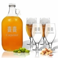5 Piece Set: Growler  64 oz.  & Cervoise Glass  16.75 oz. (Set of 4) Personalized Adirondack Chairs
