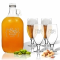 5 Piece Set: Growler  64 oz.  & Cervoise Glass  16.75 oz. (Set of 4) Personalized Mr & Mrs Bracket