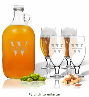 5 Piece Set: Growler  64 oz.  & Cervoise Glass  16.75 oz. (Set of 4) Personalized Split Letter