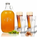 5 Piece Set: Growler  64 oz.  &  Pilsner Glass 16oz (Set of 4) Personalized