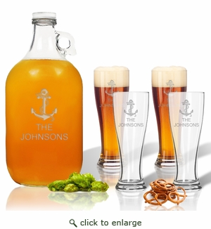 5 Piece Set: Growler  64 oz.  &  Pilsner Glass 16oz (Set of 4) Personalized Anchor Theme