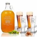 5 Piece Set: Growler  64 oz.  &  Pilsner Glass 16oz (Set of 4) Personalized Brewing
