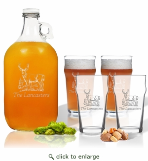 5 Piece Set: Growler  64 oz.  & Pub Glass  16 oz. (Set of 4) Personalized Hillside Buck