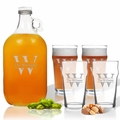 5 Piece Set: Growler  64 oz.  & Pub Glass  16 oz. (Set of 4) Personalized Split Letter